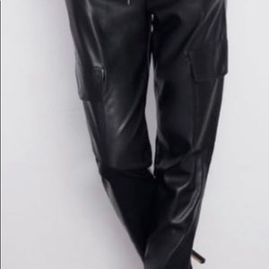 Zara faux leather cargo pants